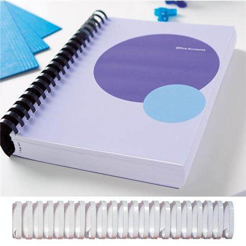 Grzbiety plastikowe owalne z blokadą: 241-280 kartek - 32 mm biały