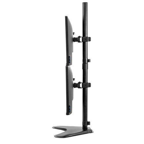Pionowe ramię na 2 monitory Professional Series™: czarne