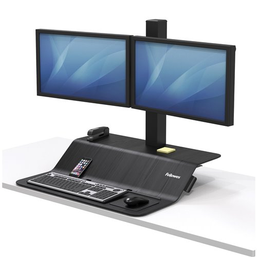 Stanowisko do pracy Sit-Stand Lotus™ VE na dwa monitory: czarne