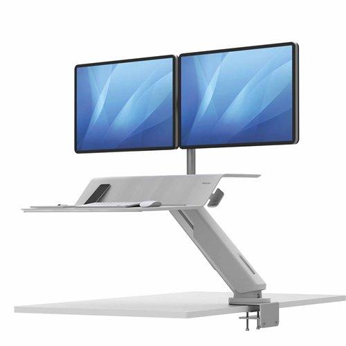 Stanowisko do pracy Sit-Stand Lotus™ RT - białe na 2 monitory: Biały